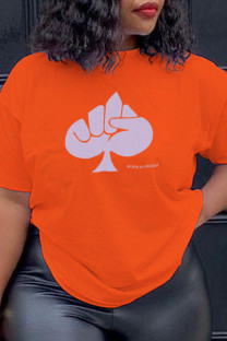 Orange Fashion Daily Print Split Joint O Neck T-Shirts