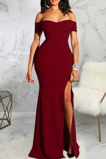 Burgundy Fashion Sexy Solid Backless Slit Off the Shoulder Evening Dress