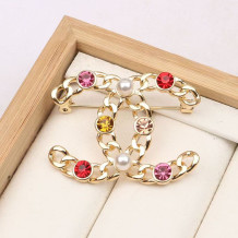 Gold Fashion  Simplicity Letter Hot Drill Brooch