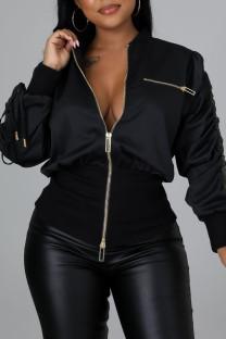 Black Street Solid Split Joint Zipper Zipper Collar Outerwear