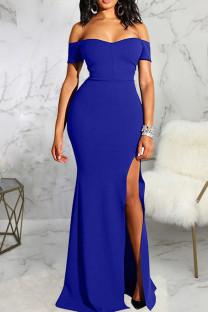 Blue Fashion Sexy Solid Backless Slit Off the Shoulder Evening Dress