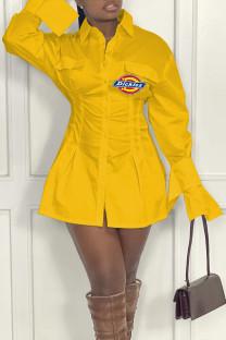 Yellow Fashion Sexy Print Split Joint Turndown Collar A Line Dresses
