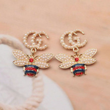 Gold Fashion Vintage Letter Pearl Earrings