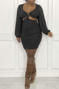 Black Sexy Solid Hollowed Out Split Joint U Neck Dresses