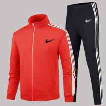 Red Fashion Sportswear Print Split Joint Zipper Collar Long Sleeve Two Pieces