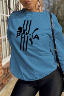 Blue Street Sportswear Print Split Joint O Neck Tops