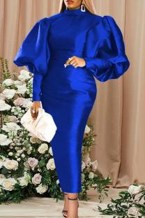 Blue Fashion Casual Solid Basic Turtleneck Long Sleeve Evening Dress