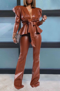 Caramel Colour Sexy Solid Split Joint V Neck Long Sleeve Two Pieces