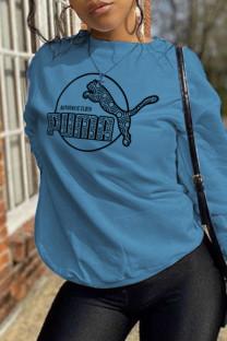 Blue Fashion Street Print Split Joint O Neck Tops