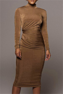 Brownness Fashion Casual Solid Hollowed Out Turtleneck Long Sleeve Dresses