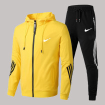 Yellow Fashion Sportswear Print Split Joint Hooded Collar Long Sleeve Two Pieces