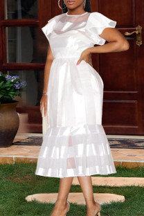White Fashion Patchwork Solid See-through O Neck Short Sleeve Dress