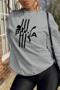 Grey Street Sportswear Print Split Joint O Neck Tops