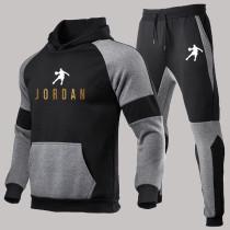 Dark Gray Fashion Sportswear Print Split Joint Hooded Collar Long Sleeve Two Pieces