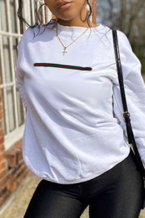 White Street Sportswear Print Split Joint O Neck Tops