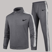 Grey Fashion Sportswear Print Split Joint Zipper Collar Long Sleeve Two Pieces
