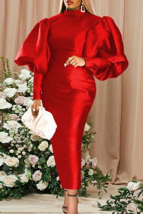 Red Fashion Casual Solid Basic Turtleneck Long Sleeve Evening Dress