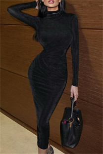 Black Fashion Casual Solid Hollowed Out Turtleneck Long Sleeve Dresses
