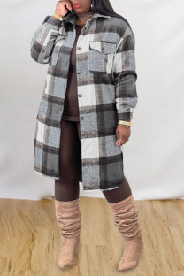 Grey Casual Plaid Split Joint Peter Pan Collar Outerwear