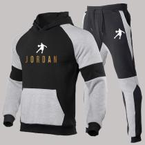 Black Fashion Sportswear Print Split Joint Hooded Collar Long Sleeve Two Pieces