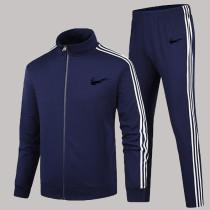 Dark Blue Fashion Sportswear Print Split Joint Zipper Collar Long Sleeve Two Pieces