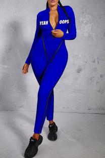 Blue Sexy Print Split Joint Zipper Collar Skinny Jumpsuits