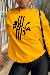 Yellow Street Sportswear Print Split Joint O Neck Tops