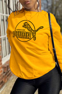 Yellow Fashion Street Print Split Joint O Neck Tops