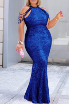 Blue Fashion Sexy Plus Size Solid Split Joint O Neck Sleeveless Evening Dress