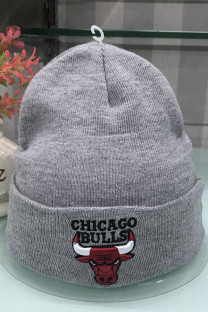 Grey Fashion Street Embroidery Split Joint Letter Hat