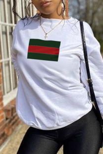 White Casual Sportswear Print Split Joint O Neck Tops