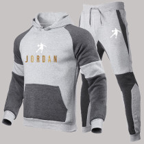 Light Gray Fashion Sportswear Print Split Joint Hooded Collar Long Sleeve Two Pieces