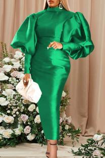 Green Fashion Casual Solid Basic Turtleneck Long Sleeve Evening Dress