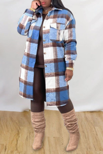 Blue Casual Plaid Split Joint Peter Pan Collar Outerwear