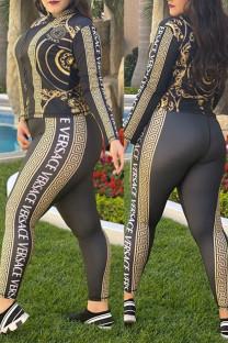 Black Fashion Street Print Split Joint Zipper Collar Long Sleeve Two Pieces