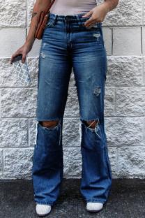 Dark Blue Fashion Casual Solid Ripped High Waist Regular Denim Jeans