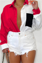 Red Fashion Casual Patchwork Basic Turndown Collar Tops