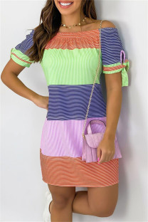 Colour Fashion Casual Striped Print Basic Off the Shoulder Short Sleeve Dress