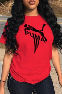 Red Street Sportswear Print Split Joint O Neck T-Shirts