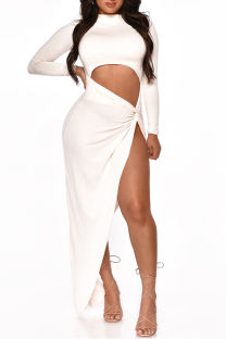 White Fashion Sexy Solid Hollowed Out Slit O Neck Long Sleeve Dresses