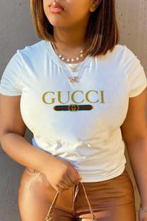 White Casual Sportswear Print Split Joint O Neck T-Shirts