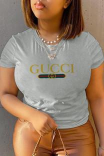 Grey Casual Sportswear Print Split Joint O Neck T-Shirts