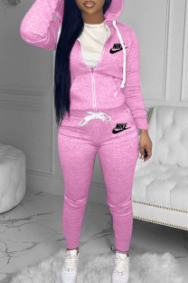 Pink Fashion Casual Letter Embroidered Hooded Collar Long Sleeve Two Pieces
