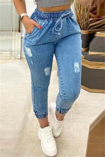 Blue Fashion Casual Solid Ripped High Waist Regular Denim Jeans