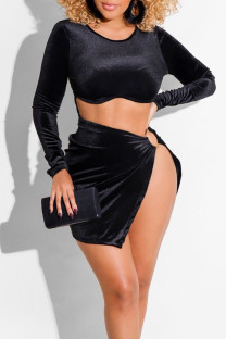 Black Sexy Solid Hollowed Out Split Joint Slit O Neck One Step Skirt Dresses