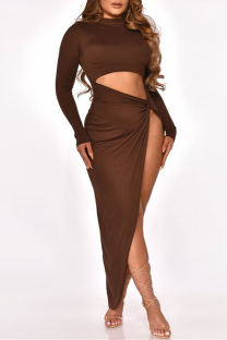 Brown Fashion Sexy Solid Hollowed Out Slit O Neck Long Sleeve Dresses