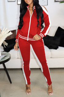 Red Casual Sportswear Solid Hollowed Out Split Joint Zipper Zipper Collar Long Sleeve Two Pieces