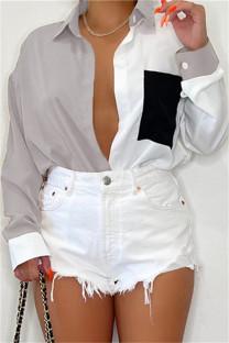 Grey Fashion Casual Patchwork Basic Turndown Collar Tops