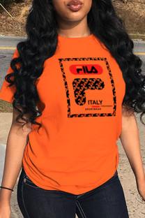Orange Street Sportswear Print Split Joint O Neck T-Shirts