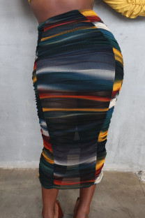 Multi-color Sexy Print Split Joint Fold Regular High Waist Pencil Full Print Bottoms